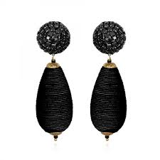 suzanna dai earrings rhinestone and silk cord wrapped teardrop earrings black suzanna