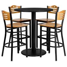 high table and chair set set of 10 round high top restaurant cafe bar table and wood seat