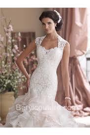 pink lace wedding dress flare mermaid neckline light pink organza ruffle lace