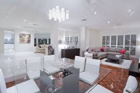 luxurious dining room with living rooms and kitchen in the