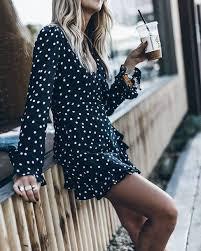dress mini dress black dress polka dots long sleeves