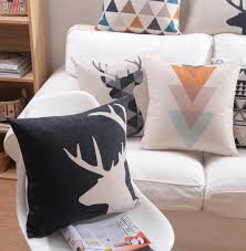 abstract deer and geometric shapes decorative pillow case u2013 kovi