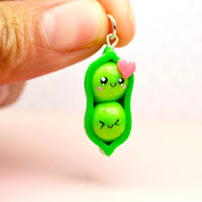 peas in a pod keychain sweet clay creations kawaii collection
