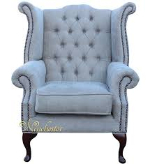 chesterfield fabric queen anne high back wing chair ritz mink