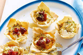 canape cups recipes filo pastry cups with goat s curd dates and pistachios