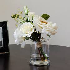 silk arrangements for home decor real touch white rose arrangement mixed artificial flowers in