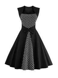 square neck decorative button polka dot skater dress fashionmia com