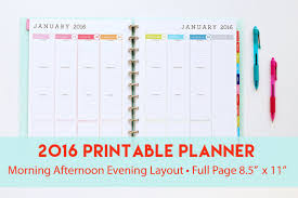 printable hourly planner 2016 2016 printable planner with morning afternoon evening layout