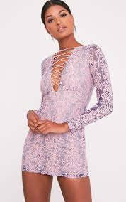 pretty thing dresses erina purple lace up bodycon dress dresses prettylittlething
