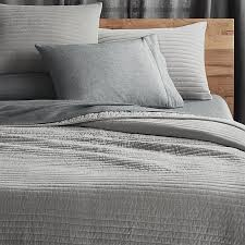 channeled grey velvet bedding cb2