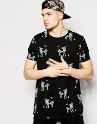 Mens Halloween T Shirts by Asos Halloween Longline T Shirt With All Over Cactus Print And