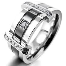 stainless steel rings for men inblue men s stainless steel ring band cz silver tone