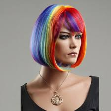 women s bob hairstyle woman u0027s wig rainbow wig short straight bob haircut cosplay wig