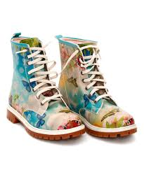 zulily s boots loving this goby blue green butterfly combat boot on zulily