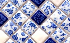 blue and white tile glossy porcelain mosaic bathroom tiles backsplash