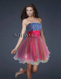 puffy multi color skirt beaded party cocktail short dress pink