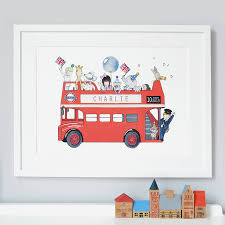 personalised london bus nursery print by daisy bump nursery art personalised london bus nursery print