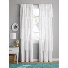girl bedroom curtains your zone ruffle girls bedroom curtain walmart com