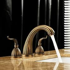 Brass Bathroom Faucet by Antique Brass Finish Widespread Bathroom Sink Faucet