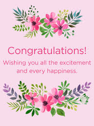 congratulations card pink flowers congratulations card there s been news that
