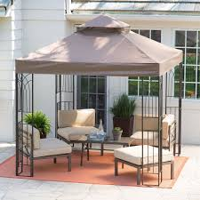 endearing garden gazebo with small table and chairs metal roof