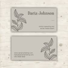Online Business Card Design Free Download Minimalist Business Card Design With Botanical Element Vector