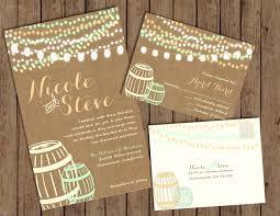 string lights and wine barrel wedding invitations burlap and