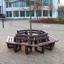 recycled plastic tree guard with integrated public bench