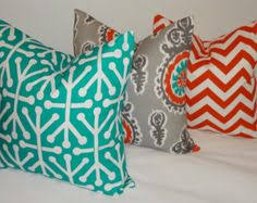 outdoor pillow suzani teal orange grey deck patio pillow cover