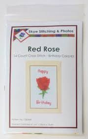 red rose happy birthday card 14 count cross stitch kit