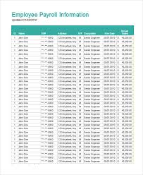 Payroll Spreadsheet Template Excel by 13 Payroll Templates Free Sle Exle Format Free