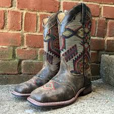 womens size 11 square toe cowboy boots laredo s brown scout leather aztec square toe boots