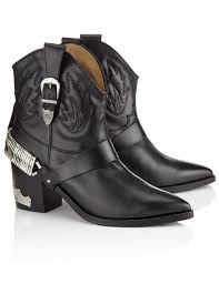 motorcycle booties black leather cowboy boots toga pulla rock style shoes