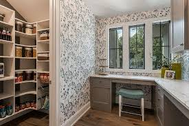 kitchen office organization ideas gray home office next to kitchen pantry transitional den