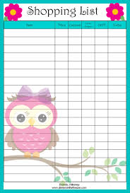 printable household shopping list adorable owl shopping list free printable grocery coupons wyd