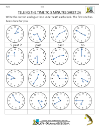 time learning clock telling time clock worksheets to 5 minutes