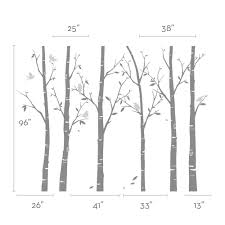 birch tree wall decals sticker set forest trees wall decal