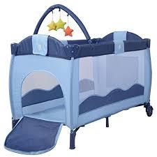 new blue baby crib playpen playard pack travel infant bassinet bed