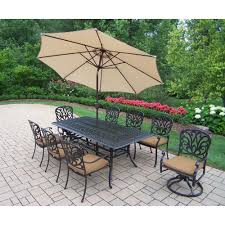 Patio Dining Set With Umbrella - hampton bay tobago 7 piece patio dining set with cushion insert