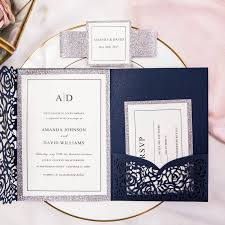 wedding invitation pocket luxury navy blue and silver glitter laser cut pocket wedding