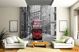 London Wall Murals Mural Red Bus In The Streets In London
