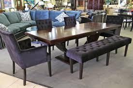 Black Velvet Dining Room Chairs by Darkwood Dining Table W 4 Black Velvet Tufted Chairs And Bench