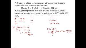 stoichiometry practice problems involving gases pv u003dnrt youtube