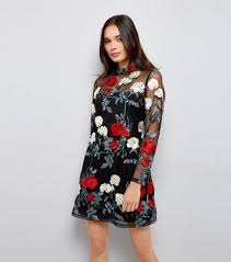 black premium floral embroidered mesh dress new look
