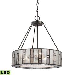 elk 70212 3 led ethan contemporary tiffany bronze led drum hanging