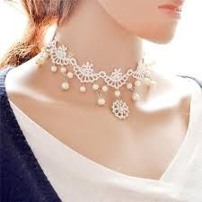 white lace necklace images 2018 diamond crystal snowflake white lace choker necklaces jpg