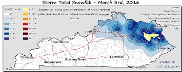 Zip Code Map Louisville Ky by Kentucky Statewide Snowfall Map From March 3 2016