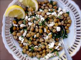 garlicky roasted chickpea salad with feta herbs and lemon