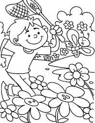 spring symbols flowers butterfly coloring picture kids
