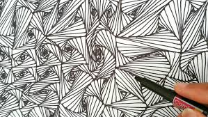 how to draw random line optical illusions patterns zentangle